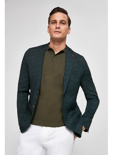 TWN Slim Fit Baskılı Sihirli Kumaş Ceket Yeşil